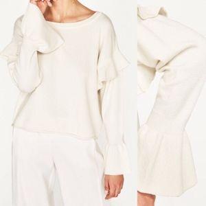 Zara Knit White Bell Tier Sleeve Pullover Sweater